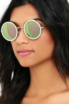 Bright Star White and Pink Round Sunglasses at Lulus.com!