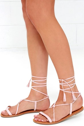 Beach Basics Nude Flat Lace-Up Sandals at Lulus.com!