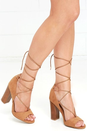 Quoth the Maven Crimson Red Suede Lace-Up Heels at Lulus.com!