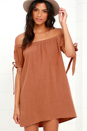 Al Fresco Evenings Brown Off-the-Shoulder Dress at Lulus.com!