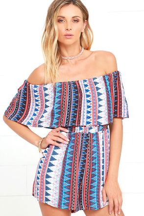 Backyard Barbecue Red Print Off-the-Shoulder Romper at Lulus.com!