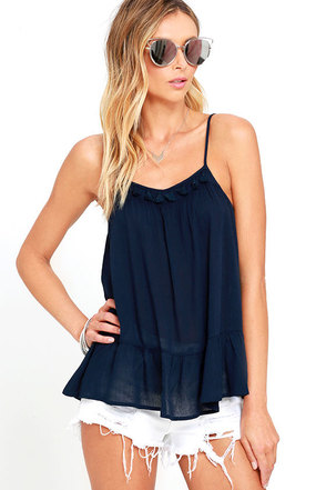 Sunny Spin Navy Blue Top at Lulus.com!