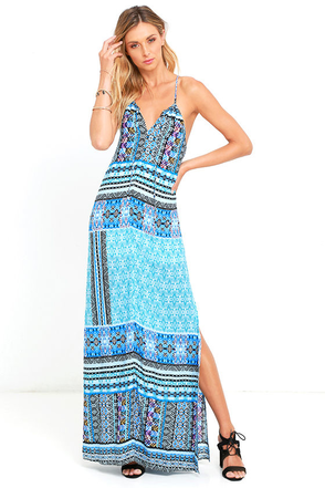 Two Weeks in Tahiti Blue Print Maxi Dress at Lulus.com!