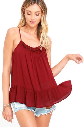 Sunny Spin Burgundy Top at Lulus.com!