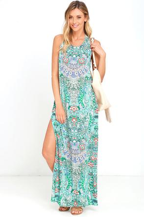 Mosaic Masterpiece Mint Blue Print Maxi Dress at Lulus.com!