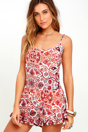 Aubree Ivory and Coral Pink Print Romper at Lulus.com!