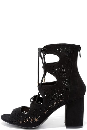 All the Deets Black Suede Lace-Up Booties at Lulus.com!