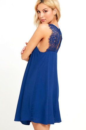 Kiss Goodnight Royal Blue Lace Dress at Lulus.com!