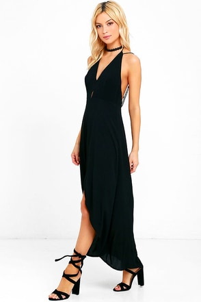 Misty Cove Black High-Low Halter Dress at Lulus.com!