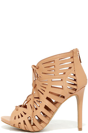 Zella Natural Caged Lace-Up Heels at Lulus.com!
