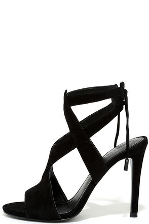 Kendall + Kylie Eston2 Black Suede Leather Caged Heels at Lulus.com!