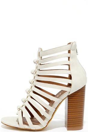 Glide Past Grey Caged Peep-Toe Heels at Lulus.com!