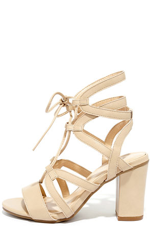 Illumine Natural Lace-Up Heels at Lulus.com!