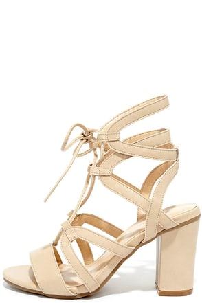 Illumine Natural Lace-Up Heels at Lulus.com!