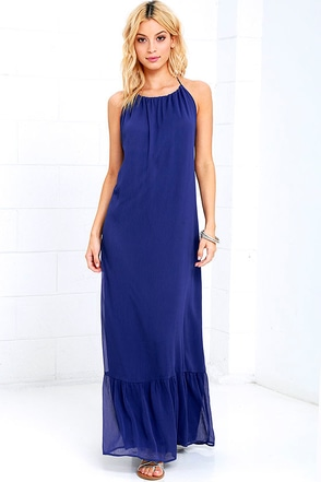 Like I Love You Royal Blue Halter Maxi Dress at Lulus.com!