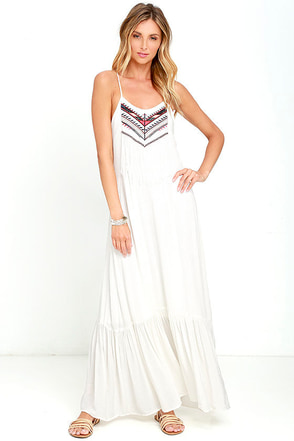 One Call Away Ivory Embroidered Maxi Dress at Lulus.com!