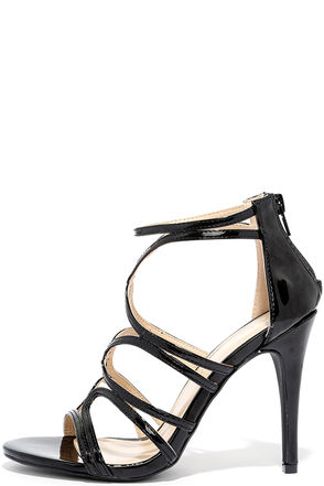 Feeling Flawless Black Patent Caged Heels at Lulus.com!