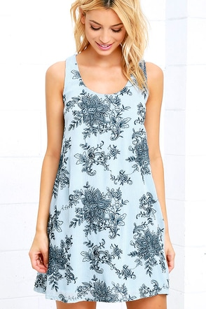 Surf Swell Light Blue Embroidered Swing Dress at Lulus.com!