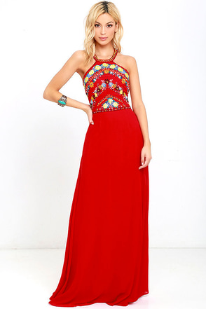 All My Life Red Embroidered Maxi Dress at Lulus.com!