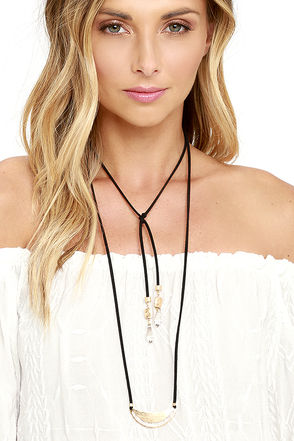 Carefully Chosen Gold and Black Necklace at Lulus.com!
