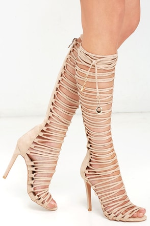 Ready to Work It Nude Suede Lace-Up Heels at Lulus.com!