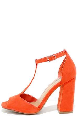 Heart Eyes Orange Suede T-Strap Heels at Lulus.com!
