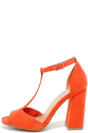 Heart Eyes Orange Suede T-Strap Heels at Lulus.com!
