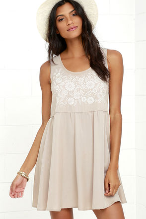 Sunflower Sweetheart Ivory and Beige Embroidered Dress at Lulus.com!