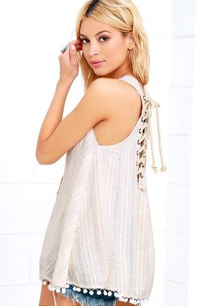 Uniquely You Cream Lace-Up Top at Lulus.com!