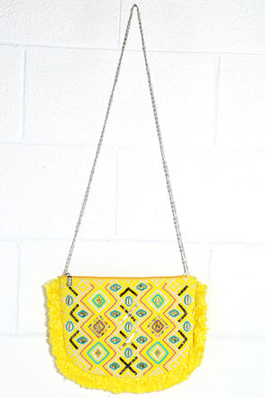 Bali Mood Yellow Beaded Clutch at Lulus.com!