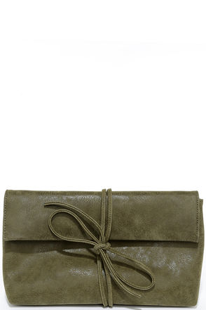 All is Right Olive Green Clutch at Lulus.com!