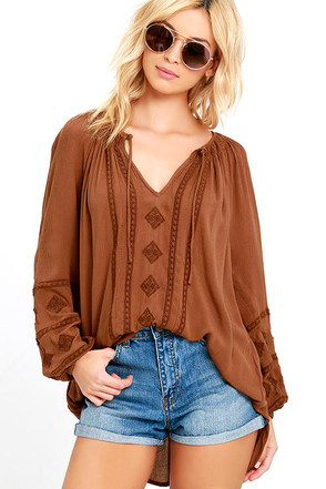 Amuse Society Caprice Brown Embroidered Top at Lulus.com!