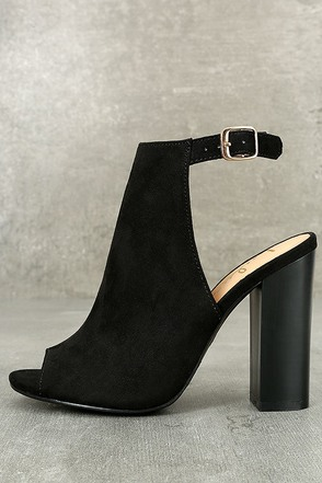 Budding Romance Black Suede Peep-Toe Booties at Lulus.com!