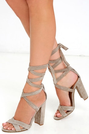 Steve Madden Christey Taupe Suede Leather Lace-Up Heels at Lulus.com!