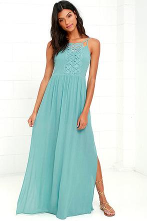 Island State of Mind Mint Blue Lace Maxi Dress at Lulus.com!