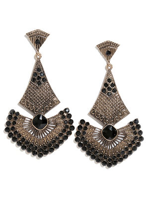 Ancient Seduction Black and Gold Earrings at Lulus.com!