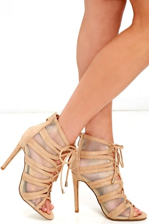 Firework It Colorful Multi Mesh Lace-Up Heels at Lulus.com!