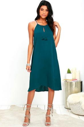 Olive & Oak Aloha Adventure Teal Blue Midi Dress at Lulus.com!
