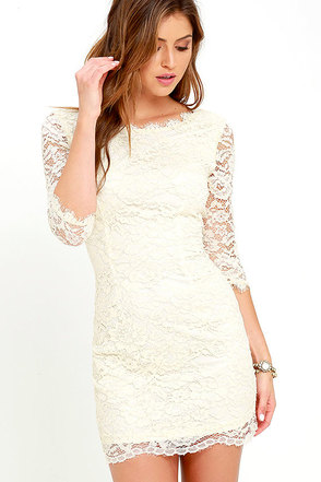 Make an Impression Light Grey Lace Dress at Lulus.com!