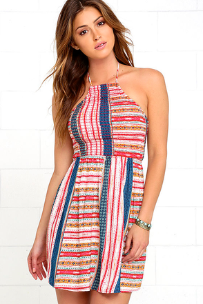 Wilder Red Print Backless Halter Dress at Lulus.com!