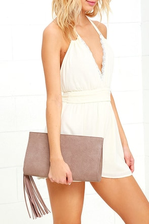 Top Deck Taupe Clutch at Lulus.com!