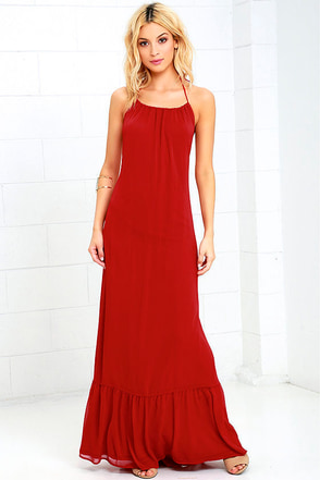 Like I Love You Rust Red Halter Maxi Dress at Lulus.com!