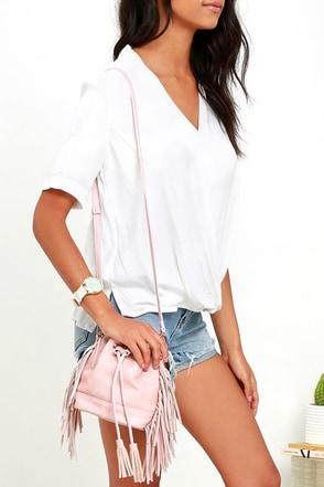 Make It Daylit Dusty Pink Fringe Bucket Bag at Lulus.com!