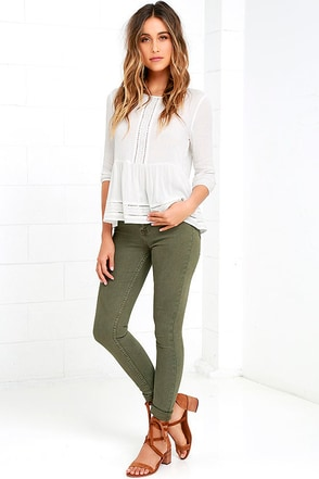 RES Denim Harry's Hi Olive Green High-Waisted Skinny Jeans at Lulus.com!