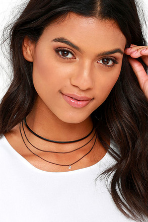 Get With It Gold and Black Layered Choker Necklace at Lulus.com!