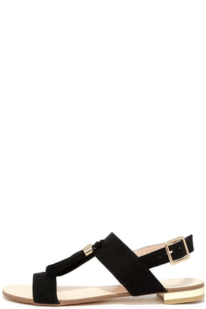 Bold and Boulder Black Tassel Sandals at Lulus.com!