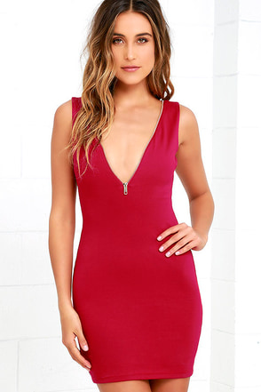 Zip-A-Dee-Ay Wine Red Bodycon Dress at Lulus.com!