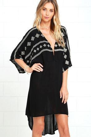 Amuse Society Sarette Gold and Black Embroidered High-Low Dress at Lulus.com!