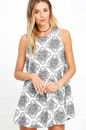 RVCA Reve Illusoire Ivory Print Shift Dress at Lulus.com!