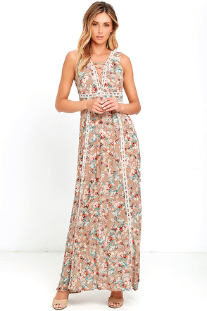 Sun Will Shine Beige Floral Print Maxi Dress at Lulus.com!